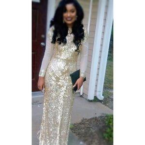 Dresses & Skirts - Golden handmade sequined prom dress💫✨👗